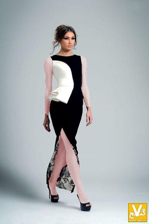 جدیدترین و شیک ترین مدل های پیراهن زنانه مجلسی دورنگ 2014