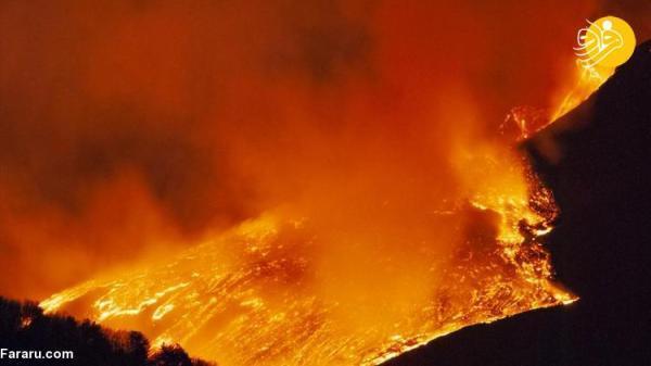 (تصاویر) آتش بازی فعال ترین آتشفشان اروپا